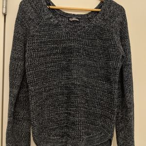 Blue Scoop Back Knitted Sweater